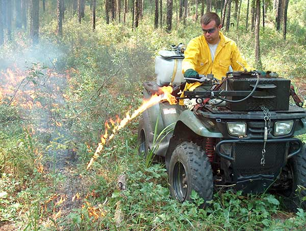 man on ATV during prescribed fire