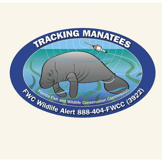 "2016-2017 ""Tracking Manatees"" decal by Mike Hunter, FWC."