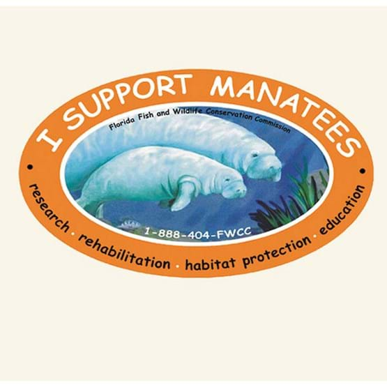 "2001-2002 ""I support manatees"" decal by JoAnne Thorne."