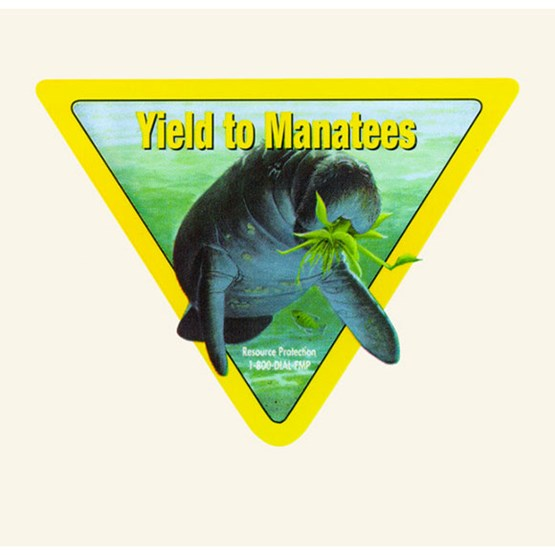 "1999-2000 ""Yield to manatees"" decal by Tom Krause."