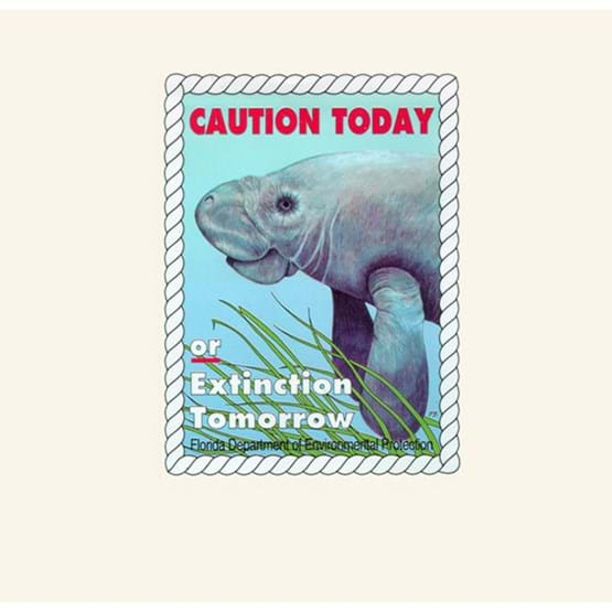 "1994-1995 ""Caution today or extinction tomorrow"" decal by Pat Batchelder."