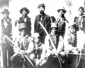 historic photo of Captain Francis Asbury Hendry with a group of Seminole Indians.