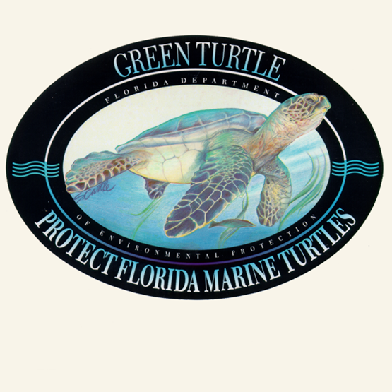 "1994-1995 ""Green sea turtles"" decal by S. Castle."