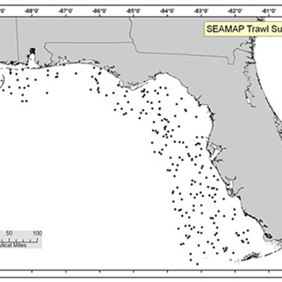 map showing sampling locations