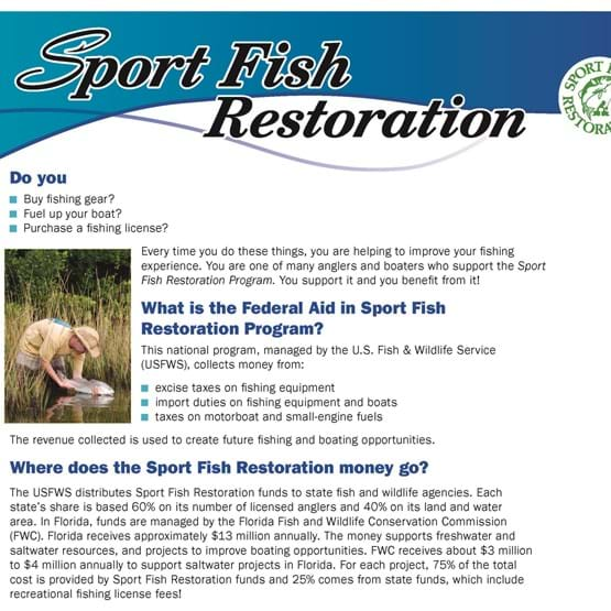 Photo of the Sport Fish Restoration Brochure