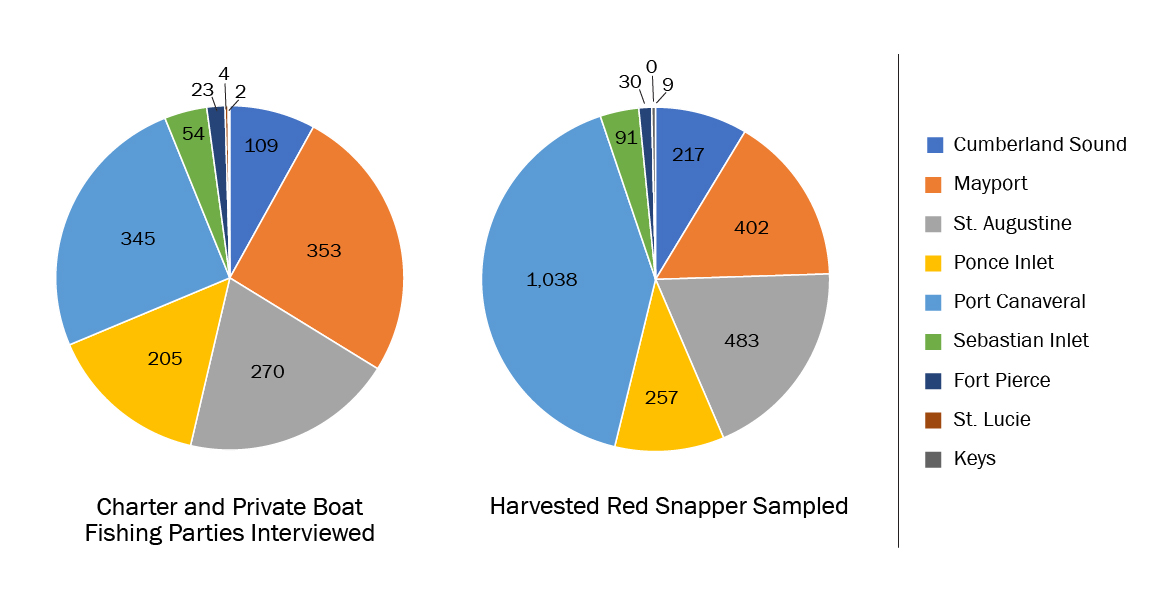 two pie charts showing numbers of interviews and fish sampled during the 2018 red snapper season