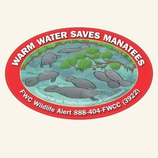 "2019-2020 ""Warm Water Saves Manatees"" decal by Mike Hunter, FWC."
