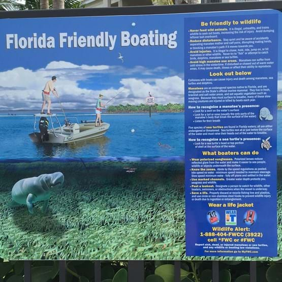 """Florida Friendly Boating"" manatee educational sign"