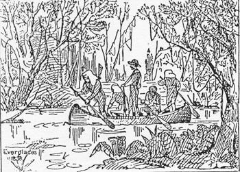 historic drawing of travelers in boat