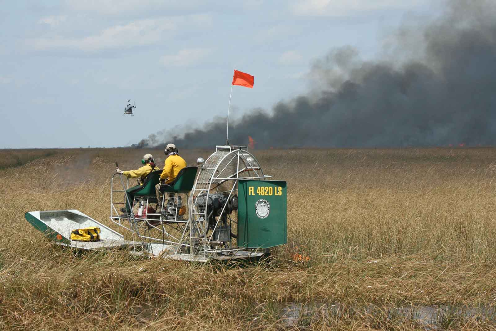 helicopter and airboat during  prescribed fire